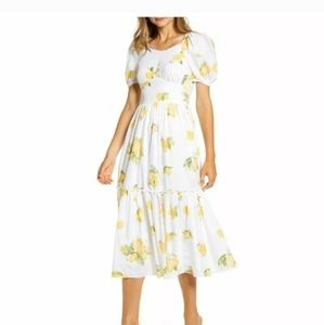 New Rachel Parcell lemon puff sleeve midi dress s
